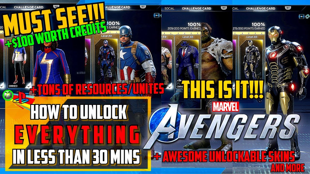 HOW TO UNLOCK EVERYTHING - MARVEL'S AVENGERS GAME