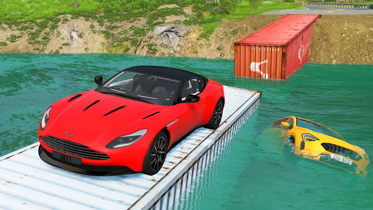 Cars Vs Container Bridge and Deep Water - BeamNG.Drive